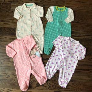 GAP- CARTER'S Bundle of Four Footie Pajamas